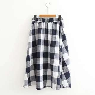 日系格子棉女裙