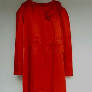 Dress merah satin big size
