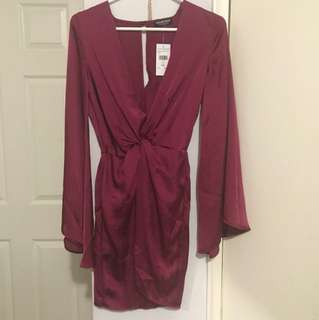 Fashion nova wine silk dress XS