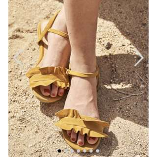 Liara ruffles Sandles - the closet lover (mustard and nude pink) $10 each