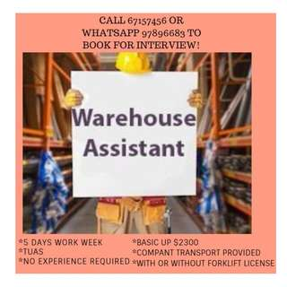 UP $3K Warehouse Assistant*10 @ Tuas