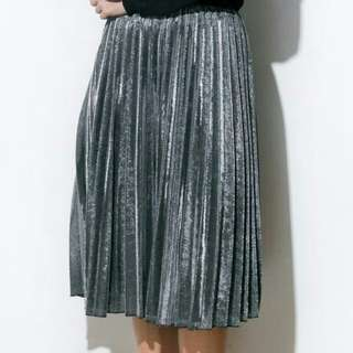 Shop Copper Metal Rising Silver Pleated Skirt