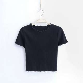 BN Black Ribbed Crop Top