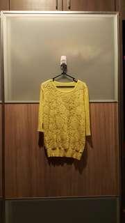 Top atasan sweater renda kuning