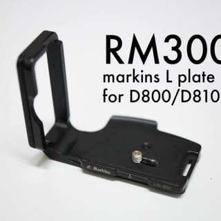 Markins L plate bracket for Nikon D800/810
