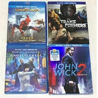 Spider Man/Transformers : The Last Knight/Ghost in the Shell/John Wick 2 blu ray movie