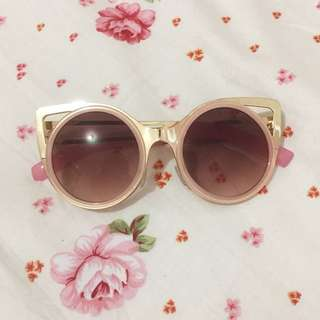 Cat eye pink gold and brown sunglasses