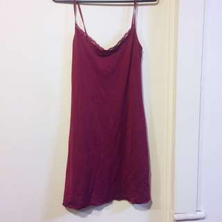 Love & Lustre Dark Red Lace Slip