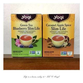 🍵 Yogi Tea, Green Tea Blueberry & Caramel Apple Spice Slim Life 16 Tea Bags x2