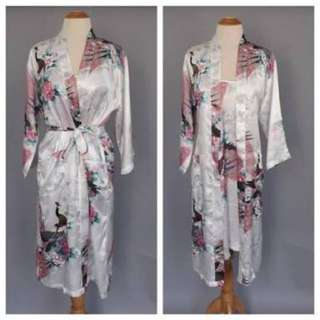 Oriental Patterned Satin Bridesmaid Robe