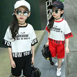 Kids Terno  Top + Tokong  Fit 5-8 yrs. old  Sodt texture fabric . mc