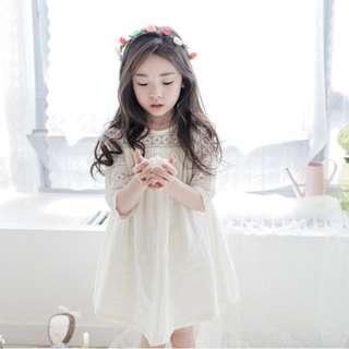 🌟INSTOCK🌟 Romantic White Korean Style Lace Flare Dress for Baby Kids Toddler Girls