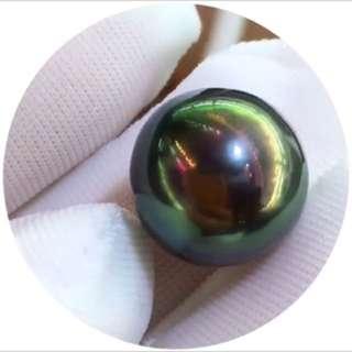 100%天然大溪地黑珍珠孔雀緣正圓珍珠 平售!