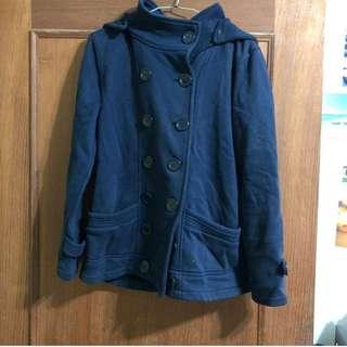 藍色雙排扣大衣