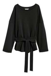 Black Sweatshirt with Ties