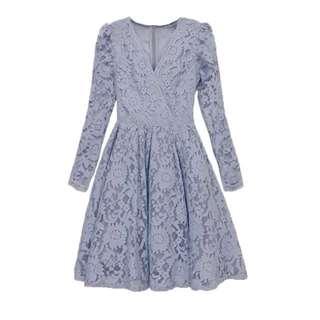 蕾絲V領顯瘦長袖洋裝