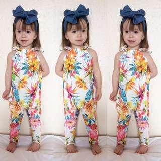 🌟INSTOCK🌟 Floral Blue Sleeveless Romper Jumper Top for Baby Kids Toddler Girls
