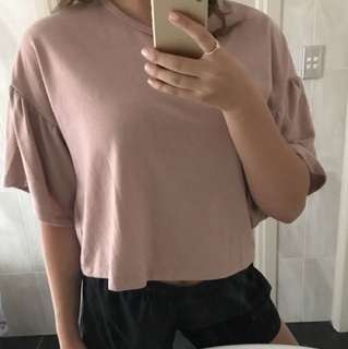 Nude - pink frilled sleeve top