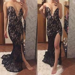 Crochet Lace long tail trail strapless split leg fancy dress size 6