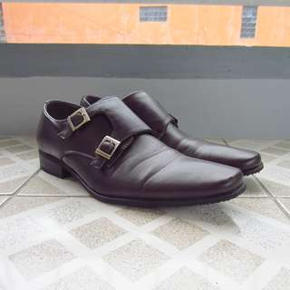 Milanos Double Monk Strap Dark Brown Leather Shoes