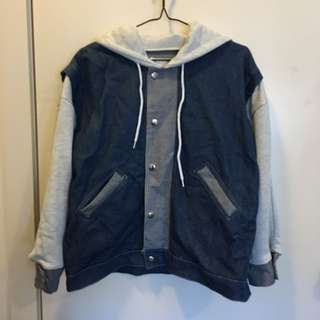 Varsity Style Denim Jacket With Hood