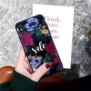 iPhone X 手機殼 玻璃底 花 紫 粉紅 黑 玫瑰 WK Design