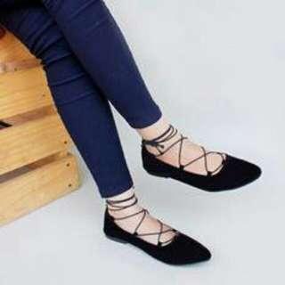 Sepatu Wanita Lucu Flat Shoes Balet Balerina Lilit Hitam