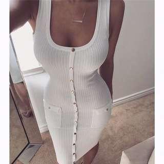 Loretta Vanilla Ribbed Dress