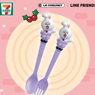 全新 7-11 Line X Le Creuset  限量版餐具一套 (Cony兔兔款)