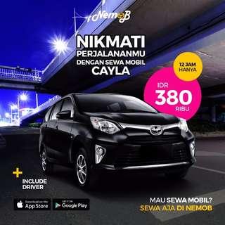Sewa mobil Toyota Calya 2017 di Jakarta, hanya 380.000 + driver. Kunjungi aplikasi Nemob