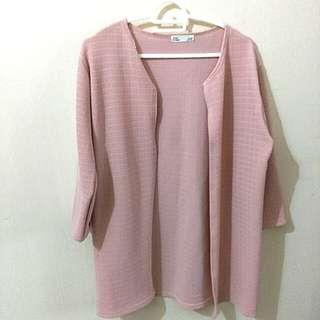 Korean pink midlength cardigan