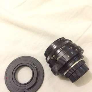 Lensa fix CCTV 35 mm bonus adapter