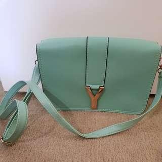 YSL green/aqua bag