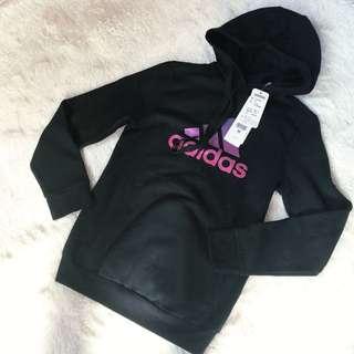 🚚 Adidas 三葉草黑色鋪毛連帽上衣