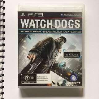 Playstation Game PS3 Watch Dogs ANZ Bonus & Exclusive Edition