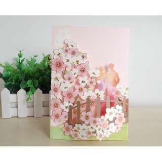 多用途萬用生日卡 生日禮物 情人節卡禮物卡 連信封- 桃花情人