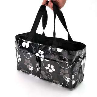 Waterproof Mummy Organizer Baby Diaper Bottle Flower Bag (Black)