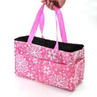 Waterproof Mummy Organizer Baby Diaper Bottle Flower Bag (Pink)
