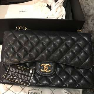 Authentic Chanel Classic Jumbo Double Flap Caviar GHW