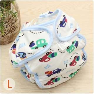Baby Waterproof Cotton Diaper Pants L Size (Car)