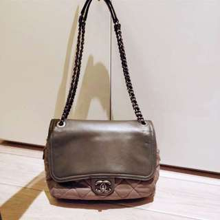 CHANEL vintage light nude brown grey bag REAL