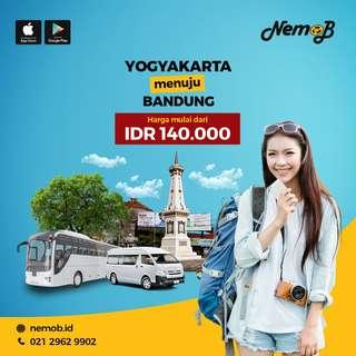 Promo tiket shuttle dan bus murah rute Jogja - Bandung dan sebaliknya. Hubungi Nemob.