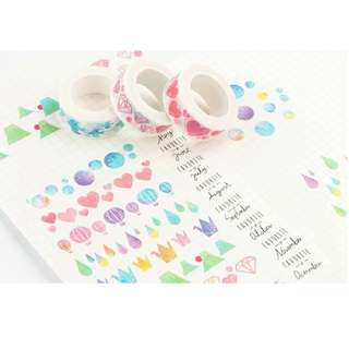 BN Watercolour Washi Tapes (Assorted)