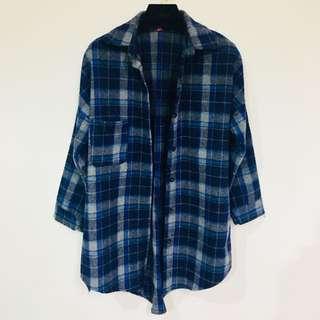 🚚 長版格紋絨毛襯衫
