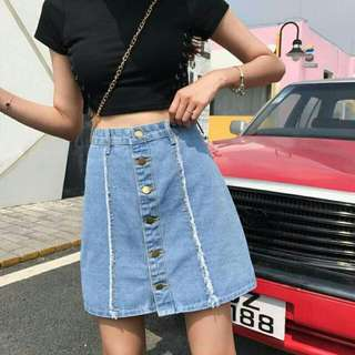 A Line Denim Skirt