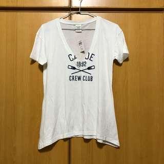 AF白色尖領短袖T恤xs