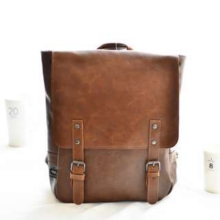 FRANK'S店面款~咖啡 黑色 皮革 前有小袋 後背包 大包 肩背 手提 雙肩包 肩背包 可調式背帶 大空間包
