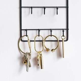 北歐設計純銅鑰匙扣黃銅實心個性金屬鑰匙圈