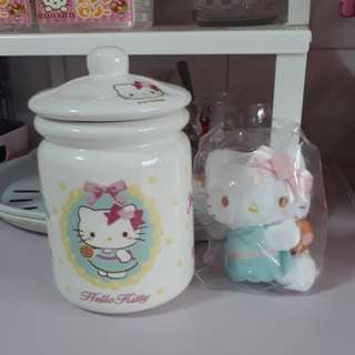Hello Kitty cookie jar with mini plush