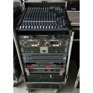 Professional Mobile PA system complete with mixer. DJ player, EQ.  power conditioner. wireless. amplier and 2 speakers cw case